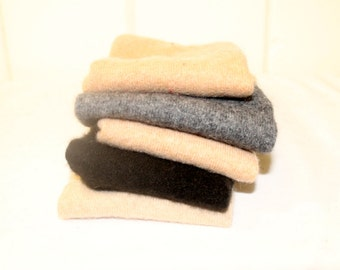 Upcycled Felted Cashmere Sweater Pieces - Lot of 5, Black & Tan