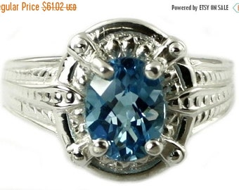 Summer Sale, 30% Off, SR284, Swiss Blue Topaz, Sterling Silver Ring