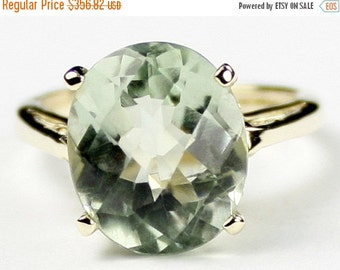 Summer Sale, 30% Off, R055, 12x10mm Green Amethyst Prasiolite, 10Ky Gold Ring