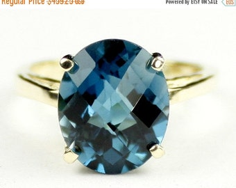 Valentines Sale 30% Off, R055, 12x10mm London Blue Topaz, 10Ky Gold Ring