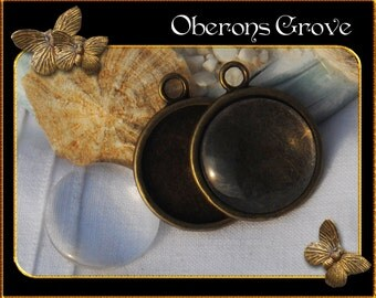 2 smooth bronze settings with 20mm cabochons