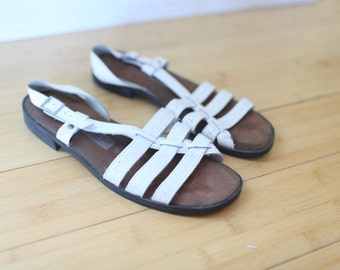 vintage cut out strappy white leather hurache sandals womens 8 1/2 *