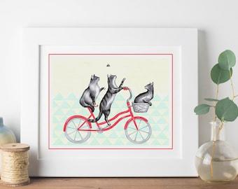 Print cats on bike, cats on bicycle drawing,cycling cats, biking cats, 5 x 7, 8 x 10, 11 x 14