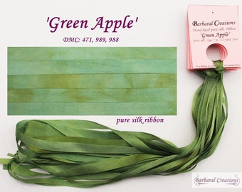 Hand dyed 7 mm wide pure silk ribbon, soie ruban - 'Green Apple'