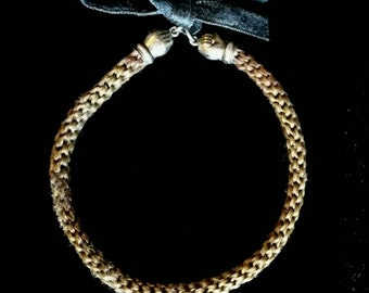 Victorian Braided Hair Bracelet with Figural Hand Shaped Clasps and Black Ribbon