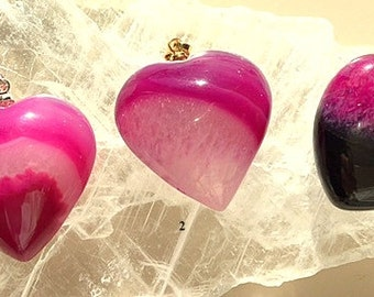 Small Puffy Hearts Agate Pendants Necklaces - Rose and Pink 3D Heart