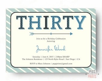 30th Birthday Invite - Printable Adult Birthday Invitation - 30th Birthday Invitation Female - 30th Birthday Invitation Male