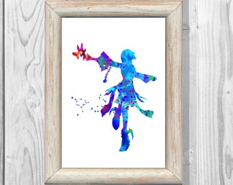 Kingdom Hearts Poster Watercolor Poster Aqua from Kingdom Hearts Birth by Sleep Wall Illustrations Art Print 8x10 Decor   Home Decor  No 201