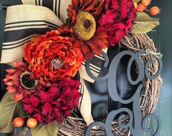Luxe Fall Wreath - Sunflower Hydrangea Berry Pumpkin Magnolia  Burlap Monogrammed Wreath -Wreaths - Fall Decor-Housewarming Gift -Gifts