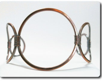Handmade Copper Wire Cuff Bracelet with Circles