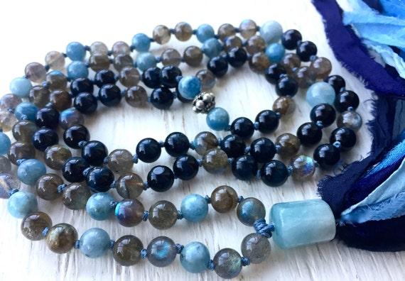Aquamarine Mala Beads, Blue Tiger Eye, Labradorite, Silk Sari Tassel, Third Eye Chakra Tassel Necklace, Healing Mala Prayer Beads