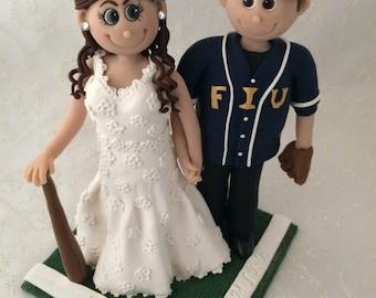 DEPOSIT-Custom Wedding Cake Topper, Bride and Groom Cake Topper, Clay Cake Topper, Baseball Cake Topper, Baseball Wedding cake topper