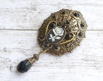 Cameo brooch with rose in antique style, black bronze, baroque brooch, flowers, Gothic Brooch, Lolita style, rhinestone jewelry