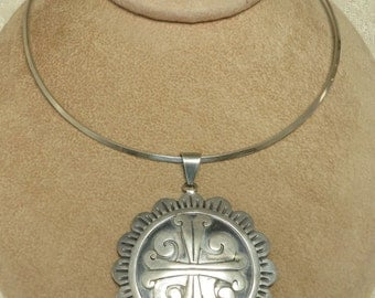 Vintage Sterling silver Taxco V.A. Mexico chunky Mayan Aztec tribal pendant brooch collar necklace