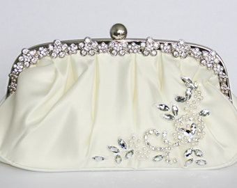Ivory bridal clutch evening bag