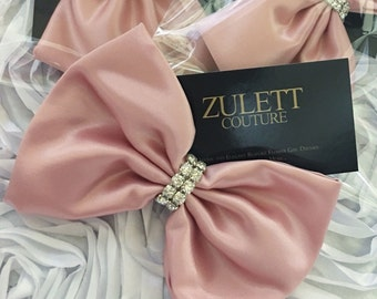 HairBow - Crystal Hairbow - Satin Hairbow - Headband Bow Blush Pink Bow - Dusty Rose Hair Bow