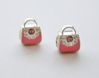 Silver and Pink Handbag Purse Large Hole Pandora Style European Bead Charms Set of 2 Great for Girls Who Love to Shop