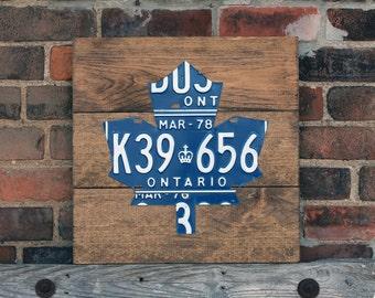 Maple Leaf Art Sign - Handmade Vintage License Plate Art - Provincial