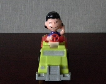 lucy in a fire truck snoopy toy mcdonalds happy meal