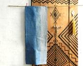 Indigo ombre Tea towel oatmeal natural Indigo Denim Blue striped hand dyed Greige german vintage linen red Monogram 36 x 94 cm 15 x 37 inches