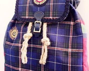 Handmade backpack in tartan fabric