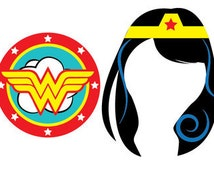 Wonder Woman Party, Wonder Woman Photo Booth Props, Printable Photo Booth Props