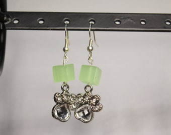 Sparkly Paw Print and Lime Green Square Bead Earrings (Nickel-free wire)