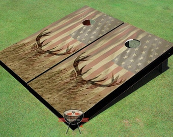 American Flag With Deer Faded Custom Cornhole Boards