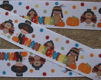 "Turkey Ribbon Thanksgiving Ribbon Happy Turkey Printed Ribbon 1"" Hair Bow Ribbon"