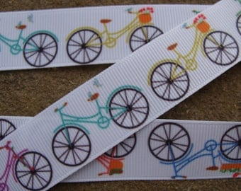 "3 yards Bike Ribbon 7/8"" bicycle grosgrain printed ribbon Kids hair bow ribbon"