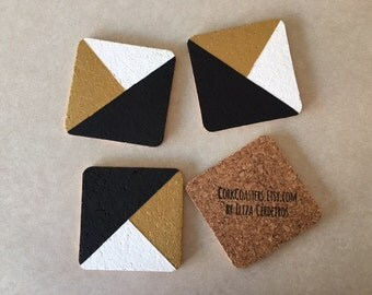 "Black Gold White Abstract 4"" Square Cork Coasters"