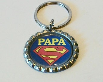 Super Papa Red and Blue Granfather Metal Flattened Bottlecap Keychain Great Gift