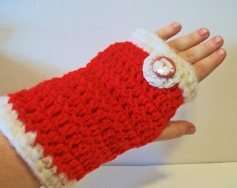 Fun Christmas Red and White with Santa Hand Crocheted Fingerless Gloves 3 Sizes Available