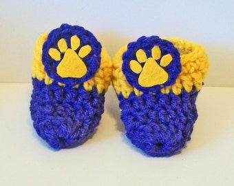 Adorable Purple and Gold Tiger Paw Print Hand Crocheted Baby Bootie Shoes Great Photo Prop Matching Hat & Bib Also Available