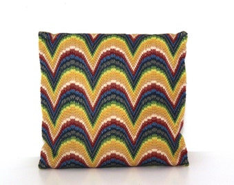 Vintage 60s 70s bargello geometric pillow rainbow waves blue green yellow
