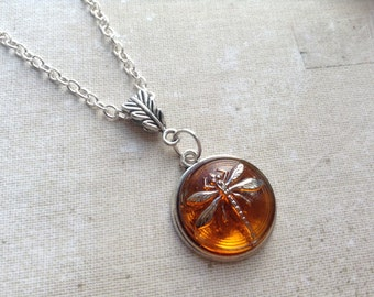 Silver Dragonfly in Amber Necklace, Sassenach Czech Glass Dragonfly Pendant, Outlander Necklace , gift for women