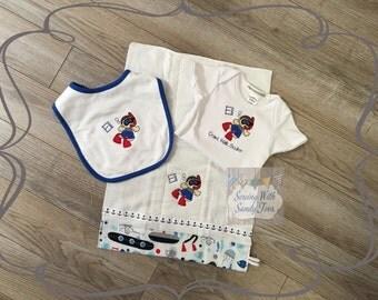 Baby gift, Baby Shower gift, Personalized Baby Gift Set, Scuba Diver, Onesie, Baby Bib, Burp Cloth, Baby Hat, Baby Layette, New Baby Gift