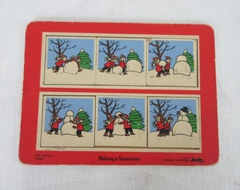 Vintage Judy® General Learning ©1975 Making a Snowman SEE QUEES® 166004, Children's Puzzle