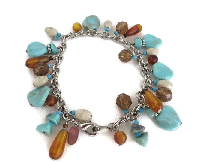 Worthington Turquoise Amber Bracelet,  Vintage Bead Bracelet Designer Signed Costume Jewelry Gift Idea