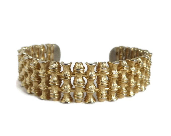 Bamboo Gold Tone Cuff, Vintage Bendable Cuff, Bamboo Branch Bracelet, FREE SHIPPING