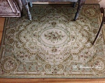 1/12 16.5 aubusson rug x13cm-miniatures-Dollhouse-handmade-victorian
