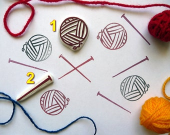 Ball of Wool and Needle, Knitted Rubber Stamp, Knitting, Yarn Stamp, Knitters, Set of 2