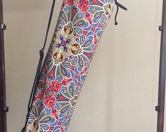 Yoga Mat Bag Red and Blue Mandala print