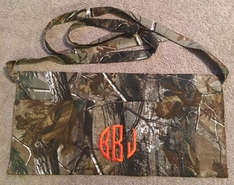 Embroidered ~CAMO MONOGRAMMED~ Personalized 3 Pocket Half Apron Waitress Utility Deer Hunting
