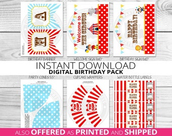 Circus Birthday Party Package, Carnival Birthday, Circus Party, 1st birthday, Popcorn, Circus, Carnival, Printable pack, INSTANT DOWNLOAD
