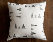 Pillow cover stamped mountains on natural hemp & organic cotton, patterned cushion cover, throw pillow, eco friendly home decor holiday gift