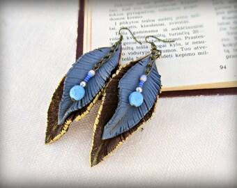 Long Leaf Brown Leather Earrings, Brown Blue Earrings, Leather Feathers Earrings, Long Boho Earrings, Tribal Leather Earrings, Blue Earrings