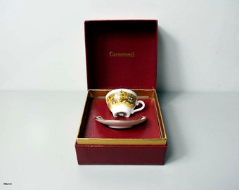 Vintage Caverswall England Boxed 'The 25 th Anniversary of the Coronation of H.M. Queen Elizabeth II' Miniature Cup and Saucer