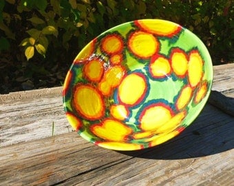 Hand Thrown Abstract Shaped, Rainbow spots Serving/Decorative Bowl By Caleb Bussard
