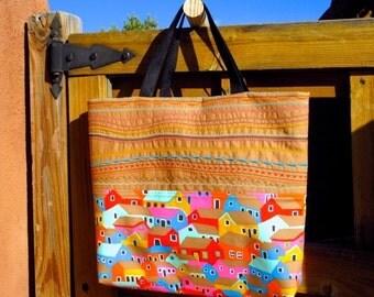 Village Tote, Tote, Tote Bag, Carry On, Handbag, Embroidered Tote, Embroidered Handbag, Carryon